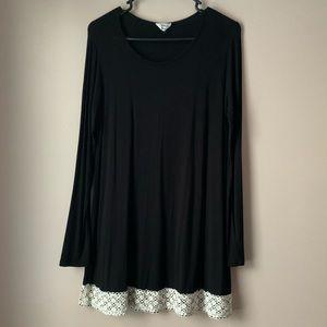 Black Tent Dress with Crochet Trim